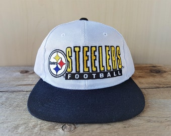 ad87080c9 Pittsburgh STEELERS Snapback Hat Vintage 90s STARTER Shiny Polyester Mesh  Official Licensed NFL Pro Line Football Cap 2 Tone Ballcap