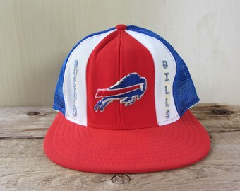 d3c8478b855 Buffalo BILLS Vintage 80s  Lucky Stripes  Baseball Cap Official Licensed  AJD Snapback Hat Blue Mesh Trucker NFL Double Knit Nylon Rare