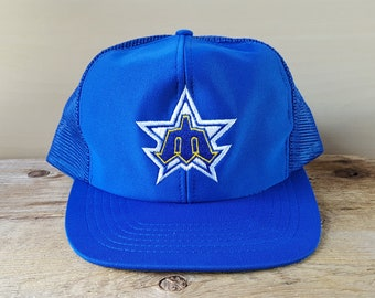 1fc6056a34618 Seattle MARINERS Original Vintage 80s Trucker Hat Trident Logo Official MLB  Blue Mesh Snapback Hat Major League Baseball Cap Ui Inc. Ballcap