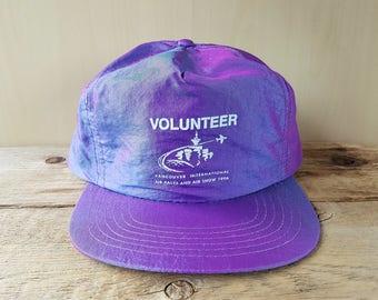 24206fabdd8 Vintage Vancouver 1996 Air Show Volunteer Rare Electric Purple Iridescent  Shiny Neon Snapback Hat Promo Cap Headline Headwear Ballcap