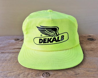 d2e795b3d07 Vintage DEKALB Yellow Neon Trucker Hat Snapback Baseball Cap Corn Seed  Farmer Throwback Adjustable Swingster USA Agriculture Retro Ballcap