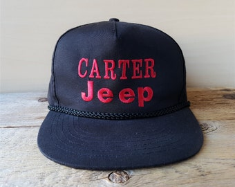 2f5f2dab46a3c Vintage 1990s CARTER JEEP Snapback Hat Auto Dealer Advertising Rope Lined Baseball  Cap 4x4 Off Road Embroidered Black Ballcap