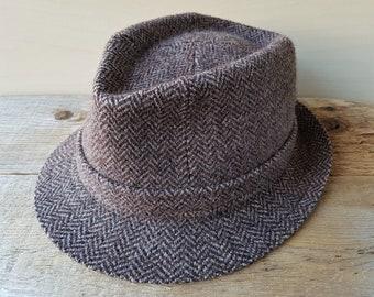 c3f71f8bd054d Vintage KANGOL Brown Tweed Skye Wool Fedora Hat Zig Zag Herringbone Bucket  Trilby Player Medium Size 7 Made in England