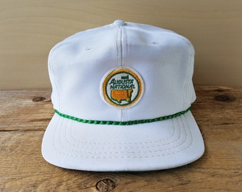 Vintage 80s AUGUSTA NATIONAL Golf Shop White Strapback Hat Rope Lined  Golfing Masters Golfing Tournament Duckster Cap Rare Patch Made in USA f31eaf8a512