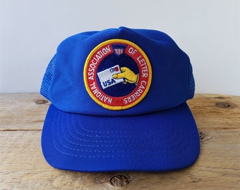 d160be826822 Vintage National Association of Letter Carriers USA Union Trucker Hat  Mailman Blue Mesh Snapback US Post Mail System Baseball Cap NALC Patch
