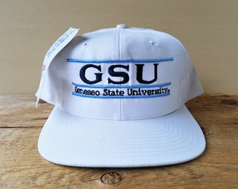 72a332d9439 Geneseo State University KNIGHTS Vintage 90s The Game Split Bar Snapback Hat  Original GSU Team Sports Cap Official White Embroidered Ballcap