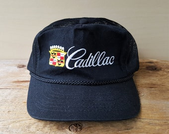 CADILLAC Original Vintage 80s Black Rope Trucker Hat Luxury Car Automobile  Promo Mesh Snapback Adjustable Baseball Cap Embroidered Ballcap 92ba28662dff