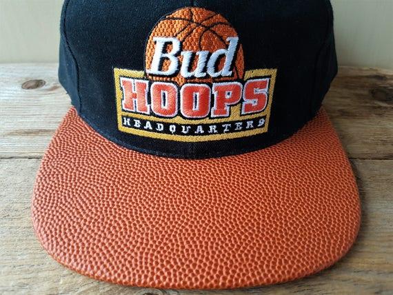 97454b2d5a9 Vintage 1994 BUD HOOPS Headquarters Snapback Hat Original Basketball  Textured Visor Budweiser Promo Cap Official Anheuser-Busch Product