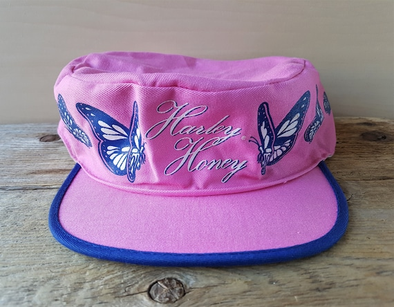 HARLEY HONEY Vintage Pink Painter Hat Butterflies Official  9aaaa81faf9