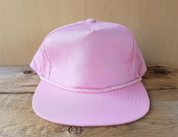 Vintage 90s Light Pink Blank Rope Lined Hat Leather Strapback  fb9745f0b44