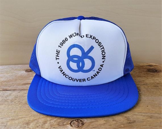 2c763bdc9ff EXPO 86 Vancouver Canada Vintage 80s Blue Mesh Trucker