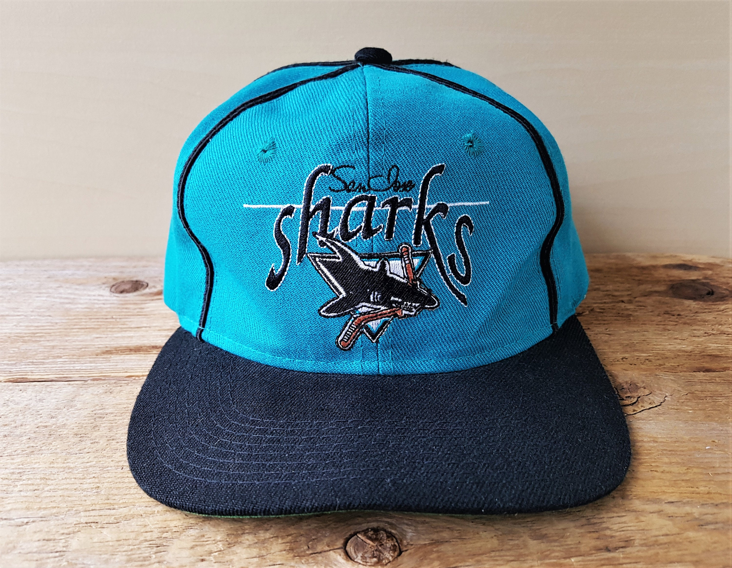 72d83b2a6a9 ... cheap san jose sharks vintage 90s snapback hat the game official etsy  7ce01 bdcc4