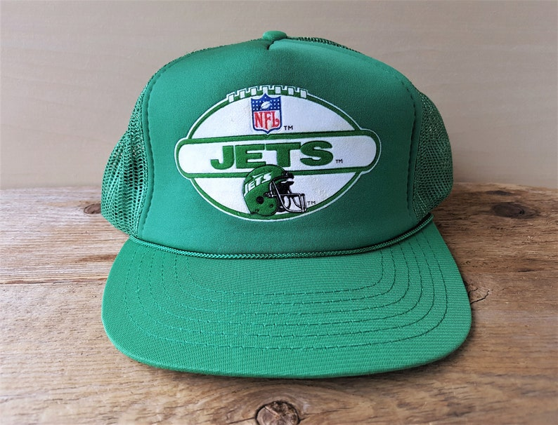 8cf52156482 New York JETS Original Vintage Green Mesh Trucker Hat Drew