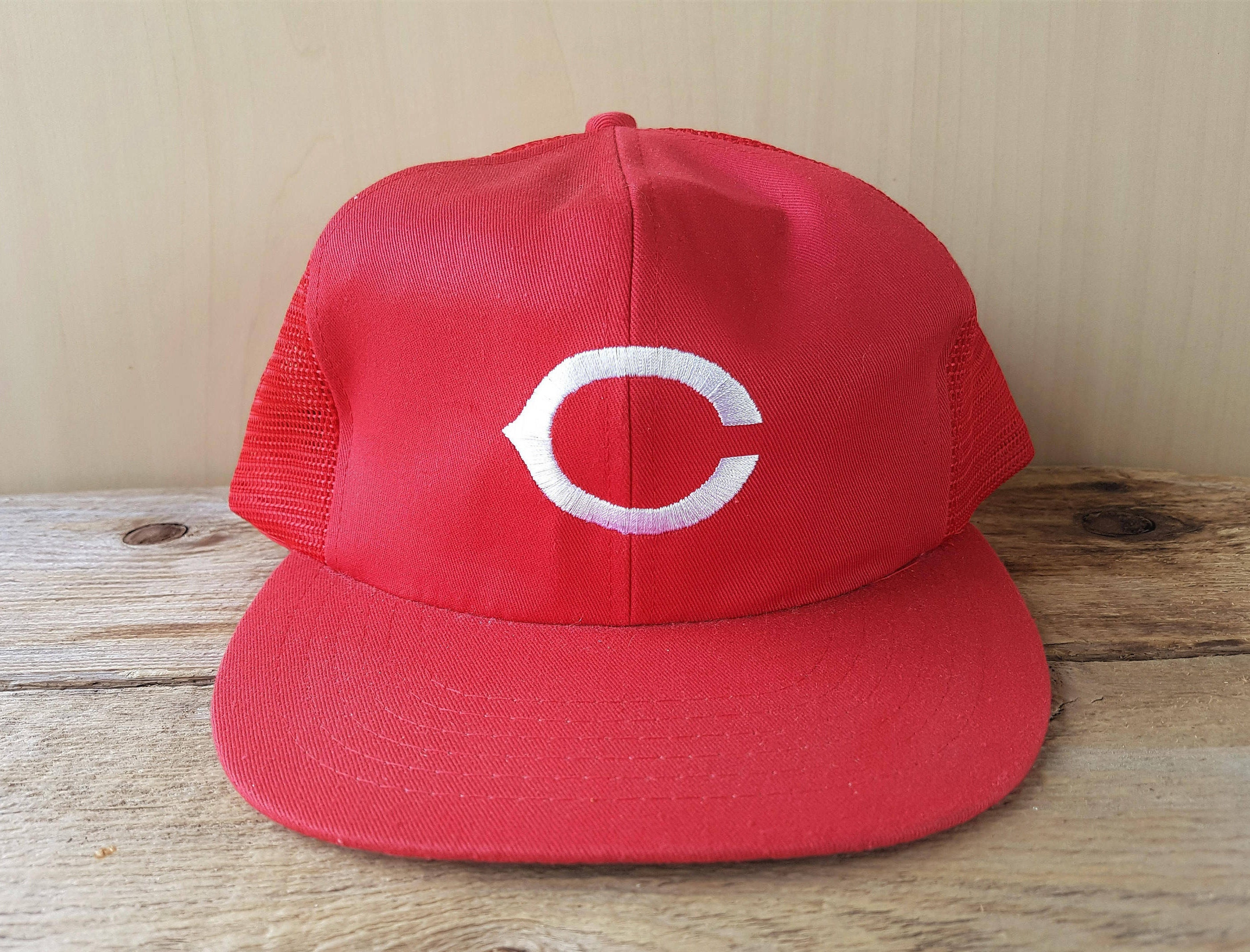 602955fd2 CINCINNATI REDS Original Vintage 80s Official Licensed MLB Red Mesh Cap  Trucker Snapback Hat Major League Baseball Annco Throwback Ballcap