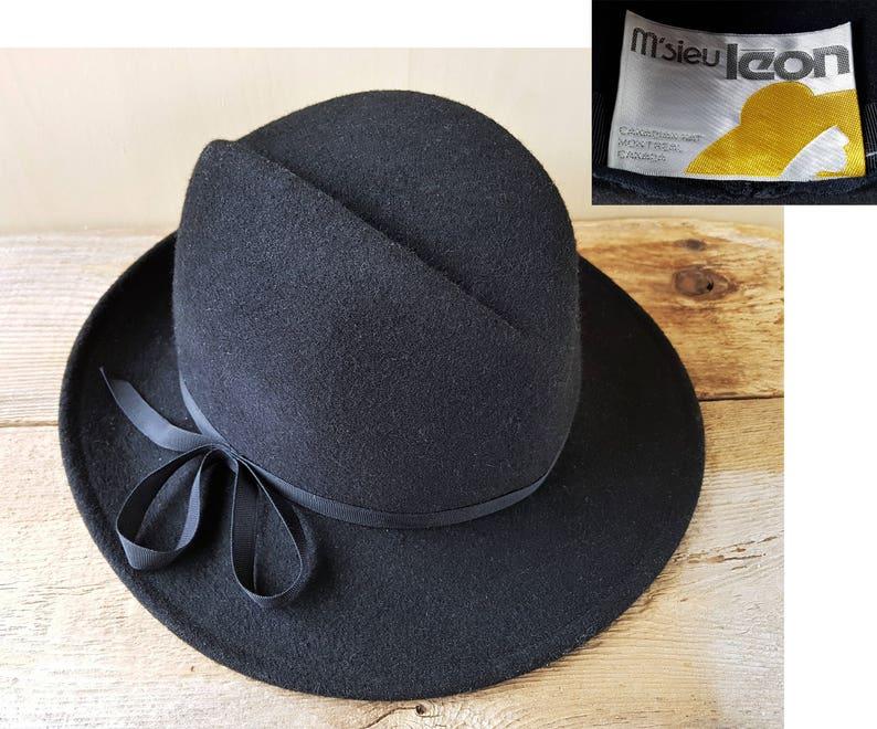 d9fd79ce8c9 M SIEU LEON Splendora Black Wool Felt Fedora Hat Vintage