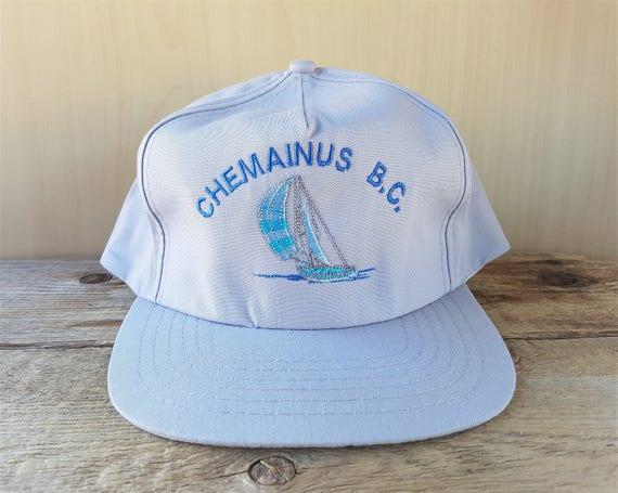 CHEMAINUS British Columbia Vintage 90s Gray Snapback Hat Sail  bc3d002de589