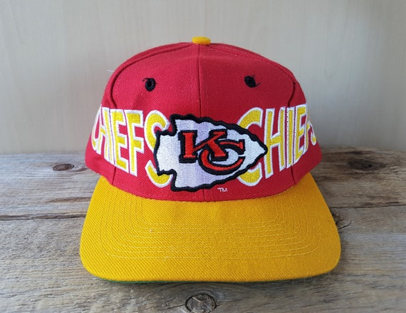 a121cf41 Kansas City CHIEFS Original Vintage Snapback Hat AJD Signature Official NFL  Embroidered Letter Football Cap 2 Tone Ballcap One Size Fits All