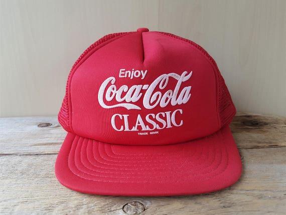 e1220e00b2a Vintage Enjoy COCA-COLA Classic Red Mesh Trucker Hat Snapback