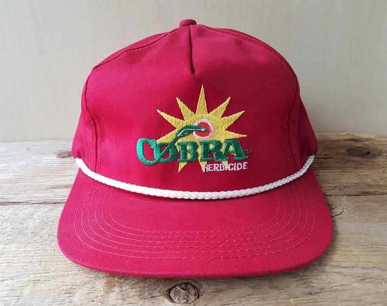 d131108cd8f8f Vintage 90s COBRA HERBICIDE Red Snapback Hat Original Rope