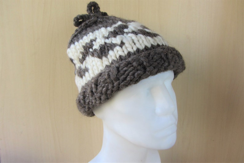af3294c809b Cowichan Raw Wool Toque Hat Beanie Vintage Authentic Hand Knit