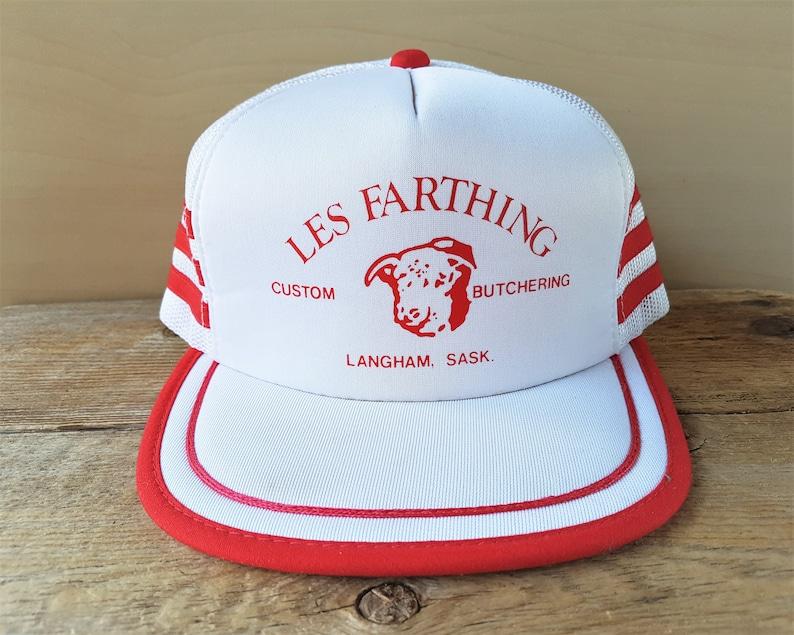 LES FARTHING Custom Butchering Vintage 80s 3 Stripe Trucker Hat White Mesh  Red Side Striped Snapback Baseball Cap Langham Saskatchewan a489363ea1cc