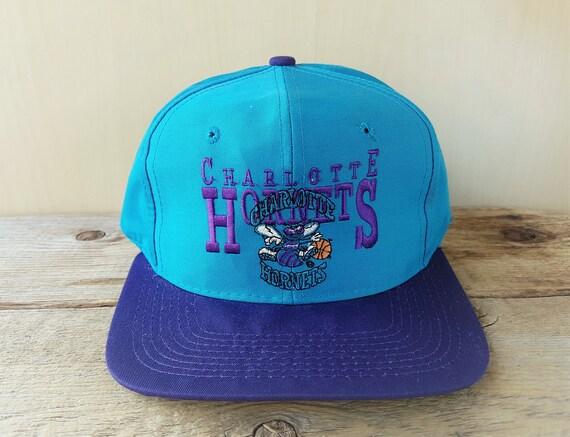 CHARLOTTE HORNETS Vintage 90s Snapback Hat AJD Basketball 2  23bbbd81c754