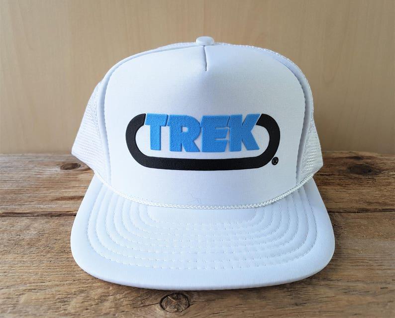TREK Vintage 80s White Mesh Trucker Snapback Hat Tractor Excavator  Undercarriage Parts Promo Baseball Cap Retro Nissin Ballcap
