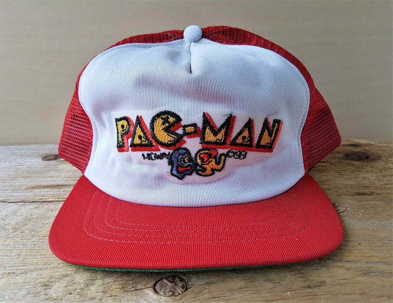 551f1cfc7be Vintage 80s PAC MAN Trucker Hat Union Made in USA Midway 1981