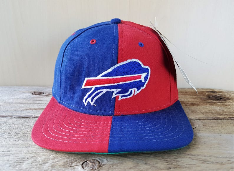 329b7af27 BUFFALO BILLS Original Vintage 90s Official NFL Quad Style Fitted Hat Size  6 7/8 American Needle Licensed Football Team Block Letters NoS