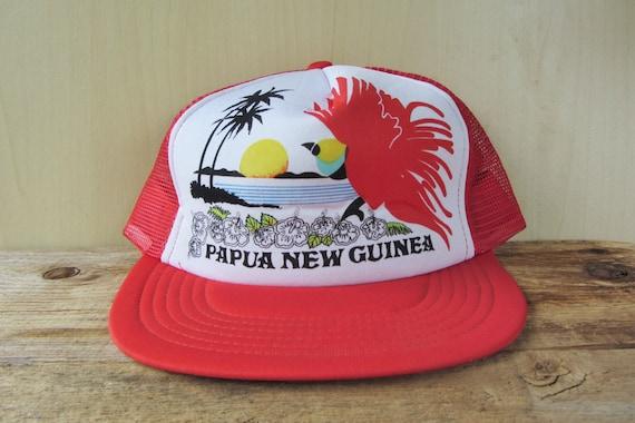 7c60a8c468c Vintage 80s PAPUA NEW GUINEA Trucker Hat Red Mesh Snapback