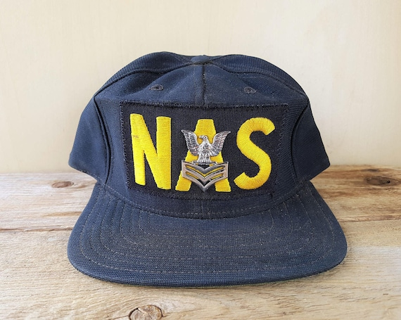 1088a543404 NAS Naval Air Station Vintage 80s Hat Official USN Petty