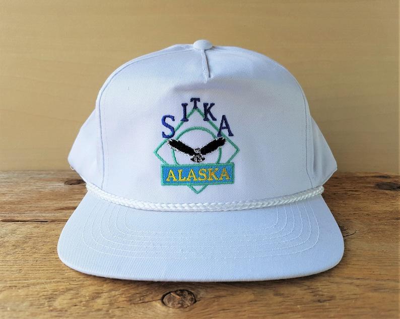 c8f8081de2da2 SITKA ALASKA Vintage 90s Snapback Hat White Rope Lined Eagle