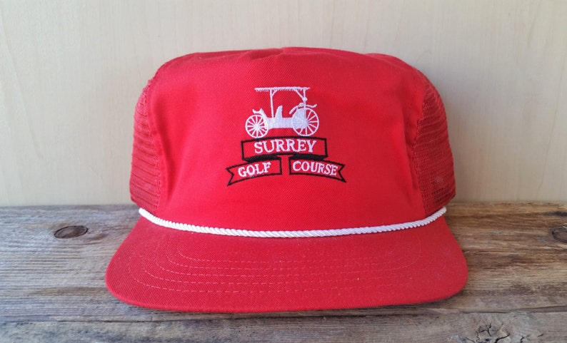 556ccaad0a5 SURREY GOLF COURSE Country Club Vintage 80s Red Mesh Trucker