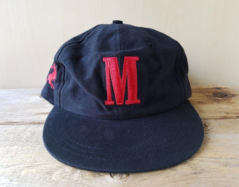 82524a71bb6 MARLBORO Letter M Vintage 90s Black Strapback Hat Embroidered