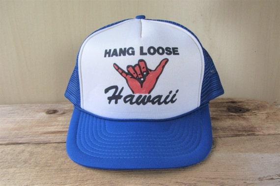 HANG LOOSE Hawaii Vintage 80s Blue Mesh Trucker Snapback Hat  5ab594b285a