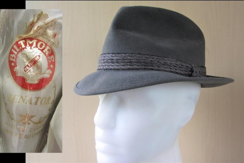 a9574a2facdb1c BILTMORE SENATOR Designer Gray Fur Felt Vintage Fedora Hat | Etsy
