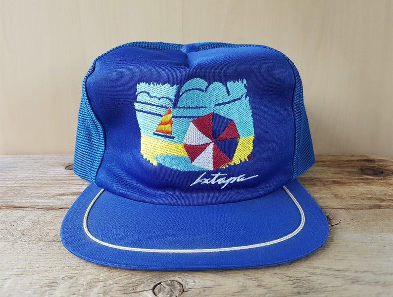 5e78400a643 IXTAPA Mexico Original Vintage 80s Blue Mesh Trucker Snapback