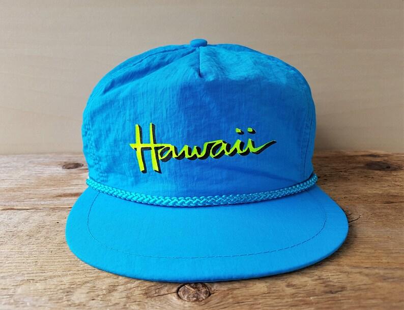 7bdc8f0c392 HAWAII Vintage 90s Snapback Hat Aqua Blue Colored Neon Trucker