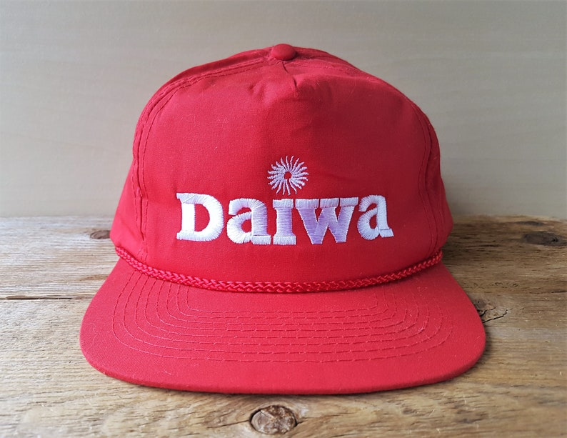 452c7c3d8 Vintage DAIWA Fishing Rods & Reels Snapback Hat Promo Red Rope Lined  Trucker Baseball Cap Embroidered Adjustable Fisherman Cap Ballcap