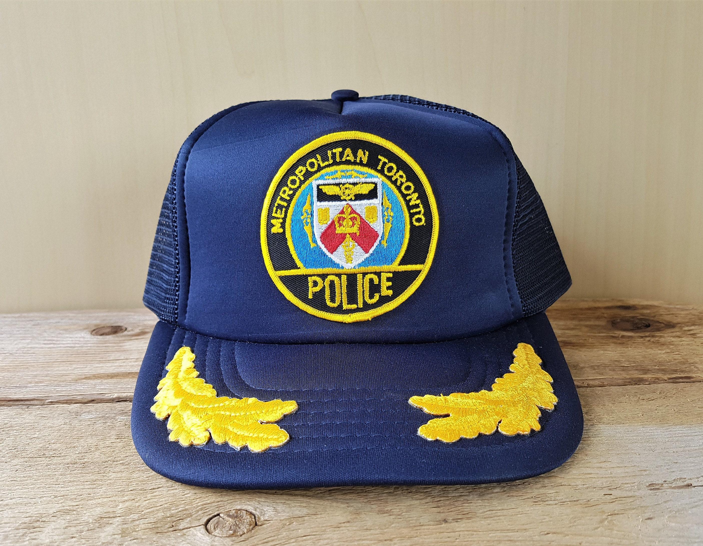 d109a39b8 Metropolitan Toronto Police Original Vintage 80s Navy Mesh Trucker Snapback  Hat Captain Adjustable Cap Golden Laurel To Serve And Protect