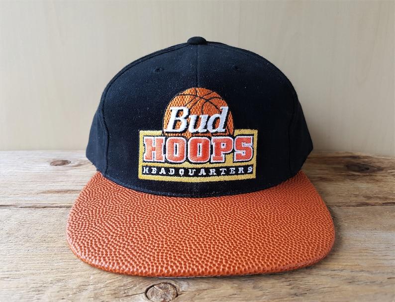 Vintage 1994 BUD HOOPS Headquarters Snapback Hat Original Basketball  Textured Visor Budweiser Promo Cap Official Anheuser-Busch Product