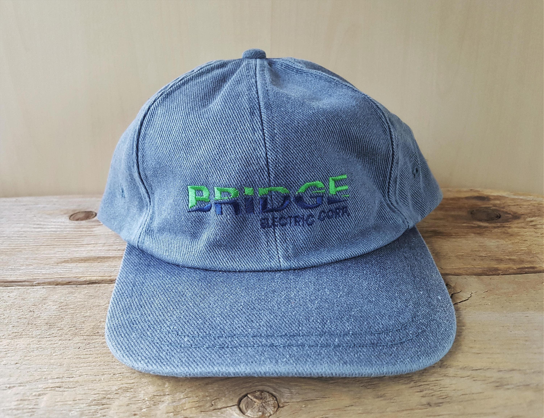 BRIDGE ELECTRIC Corp Vintage 90s Heavy Denim Strapback Hat  22f72f723875