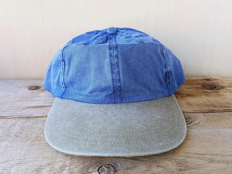 26ef7c7eec6 Vintage 90s Blank Denim Strapback Hat Two Toned Olive Bill