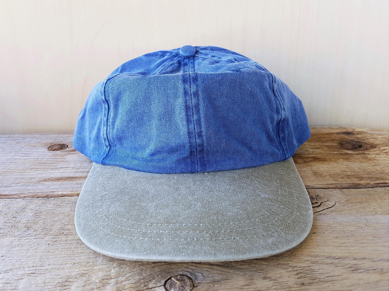 Vintage 90s Blank Denim Strapback Hat Two Toned Olive Bill  a3ea1c31d87