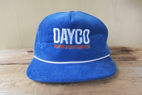 DAYCO RACING Vintage 80s Blue Corduroy Trucker Hat Snapback  8a8023042fe