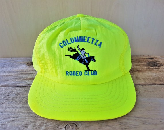 0319eae6845 COLUMNEETZA RODEO CLUB Vintage 80s Yellow Neon Colored
