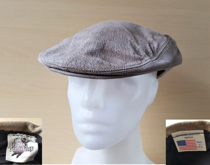 07acb06abe3c2 The VILLAGE HAT SHOP Genuine Leather Newsboy Cap Vintage