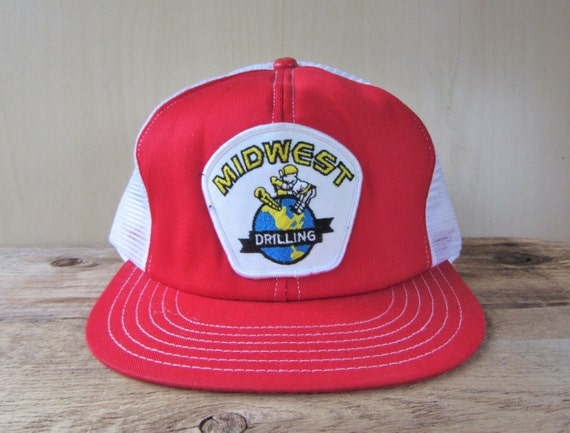 MIDWEST DRILLING Vintage 80s Classic Trucker Hat White Mesh  0a78972ff5b0