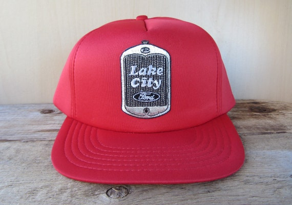 1631606e00e LAKE CITY FORD Vintage Red Full Foam Trucker Hat Snapback