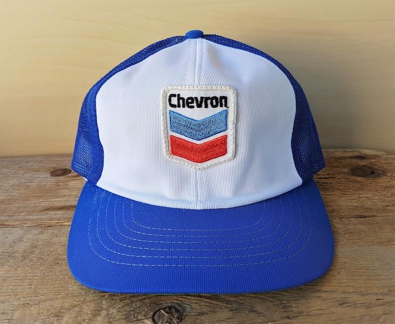 8aac8845e99 CHEVRON Gasoline Original Vtg 80s Blue Poly Mesh Trucker Hat | Etsy